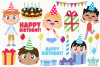 Birthday Party Boys 3 Clipart, Instant Download Vector Art example image 2
