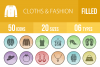 50 Clothes & Fashion Filled Low Poly Icons example image 1