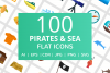 100 Pirate & Sea Flat Icons example image 1