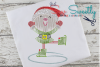 Christmas Elf Sketch Applique Embroidery Design example image 1