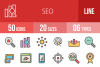 50 SEO Linear Multicolor Icons example image 1