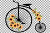 Sunflower bouquets high wheelers clip art. Floral bicycles example image 10