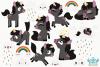 Black Unicorns Clipart, Instant Download Vector Art example image 2