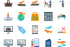 50 Airport Flat Multicolor Icons example image 2