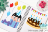 Birthday Party Boys 1 Clipart, Instant Download Vector Art example image 3