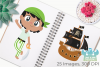 Pirate Boys 2 Clipart, Instant Download Vector Art example image 3