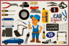 Car Mechanic Vector Clipart and Seamless Pattern example image 4