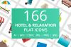166 Hotel & Relaxation Flat Icons example image 1