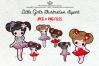 Little Girls illustration clipart set example image 1