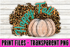 Happy Fall - Leopard Print - Teal - Pumpkin - Print File example image 1