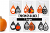 Halloween Earrings Bundle Svg / Leather / Faux / Wood / Cut example image 1