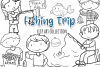 Kids Fishing Digital Stamps example image 1
