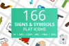 166 Signs & Symbols Flat Icons example image 1