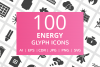 100 Energy Glyph Icons example image 1