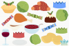 Christmas Dinner Clipart, Instant Download Vector Art example image 2