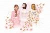 Bride And Maids Wedding Pink Gold Clip Art example image 3