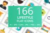 166 Lifestyle Flat Icons example image 1