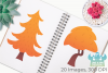 Autumn Woodland Trees Clipart, Instant Download Vector Art example image 3