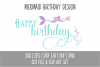 Mermaid Happy Birthday SVG Cut File and PNG Clip Art Set example image 1