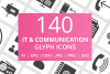 140 IT & Communication Glyph Icons example image 1
