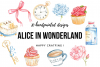 Alice in Wonderland Watercolor Cliparts Illustrations example image 4