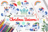 Christmas Unicorns 1 Clipart, Instant Download Vector Art example image 1