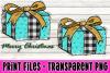 Christmas Present - Buffalo Plaid and Teal - Print File example image 1