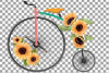 Sunflower bouquets high wheelers clip art. Floral bicycles example image 4
