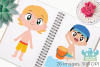 Beach Party Boys Clipart, Instant Download Vector Art example image 3
