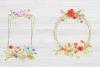 20 Geometric Framesw With Field Flowers, Poppy Wedding Frame example image 8