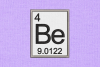 Periodic Table Element 4 Be Beryllium Applique Embroidery example image 1