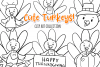 Cute Fall Turkeys Digital Stamps example image 1