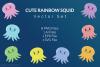 Cute Rainbow Squid Vector Set example image 1