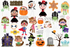 Halloween Trick Or Treaters Girls Clipart, Instant Download example image 2