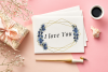 Navy Blue Watercolor Flowers Frames, Geometric Gold Frames, example image 9