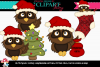 Dark Brown Christmas Owls example image 1