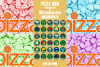 Pizza box design set with stickers. example image 1