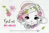 hand drawn pretty girl art set, girl face with flowers example image 1