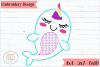 Narwhal Embroidery Applique Design example image 1