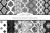 Black and White Damask Patterns - Seamless Digital Papers example image 2