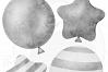 Grey Watercolor Balloon Clipart Set example image 3