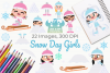 Snow Day Girls Clipart, Instant Download Vector Art example image 1