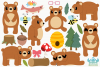 Bear Girls Clipart, Instant Download Vector Art example image 2