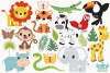 Jungle Animals Clipart, Instant Download Vector Art example image 2
