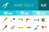 50 Hand Tools Flat Multicolor Icons example image 1