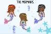 Pastel Mermaid Set - Dark Skin Clipart example image 3