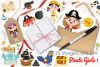 Pirate Girls 1 Clipart, Instant Download Vector Art example image 4