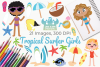 Tropical Surfer Girls Clipart, Instant Download Vector Art example image 1