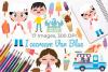 Icecream Van Blue Clipart, Instant Download Vector Art example image 1