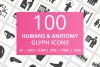 100 Humans & Anatomy Glyph Icons example image 1